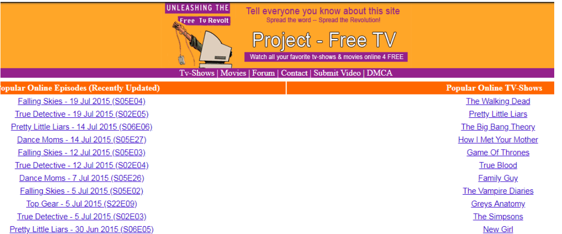 Project Free TV Wrbsite